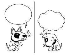 Cartoon Character Bull Terrier Dog Expressing Different Emotions With Speech Bubbles For Design.