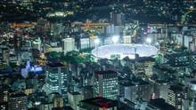 Timelapse Of Game Night At Urban Stadium In Yokohama, Japan -Pan Right-