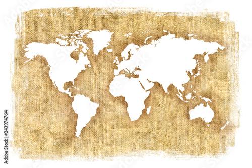 Αφίσα  Textured illustration of map of the world with burlap linen background
