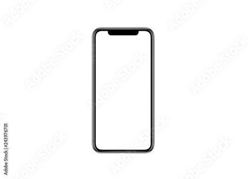 Photo  Smartphone similar to iphone xs max with blank white screen for Infographic Global Business Marketing investment Plan, mockup model similar to iPhonex isolated illustration of responsive web design