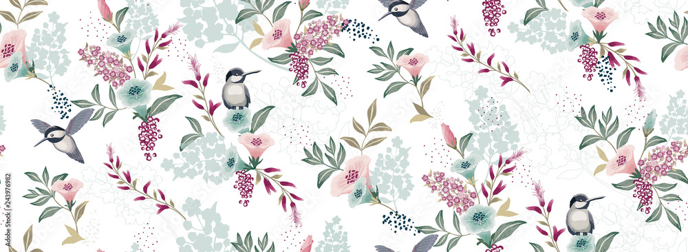 Fototapeta  Vector illustration of a seamless floral pattern with cute birds in spring for Wedding, anniversary, birthday and party. Design for banner, poster, card, invitation and scrapbook