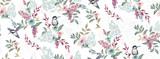 Wektorowa ilustracja bezszwowy kwiecisty wzór z ślicznymi ptakami w wiośnie na ślub, rocznicę, urodziny i przyjęcie. Projekt banera, plakatu, karty, zaproszenia i albumu z wycinkami - 243976982