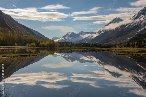 A sunny day at a peaceful lake in Alaska Canvas Print
