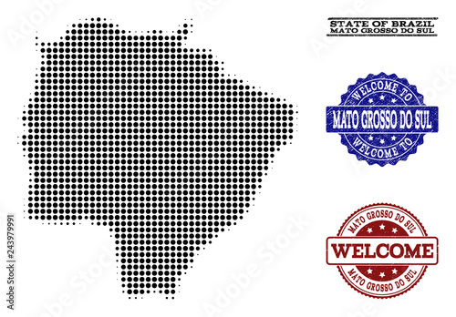 Fotografija  Welcome collage of halftone map of Mato Grosso do Sul State and rubber watermarks