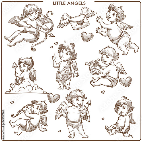 Little angels monochrome sketch outline small angelic kids Canvas Print