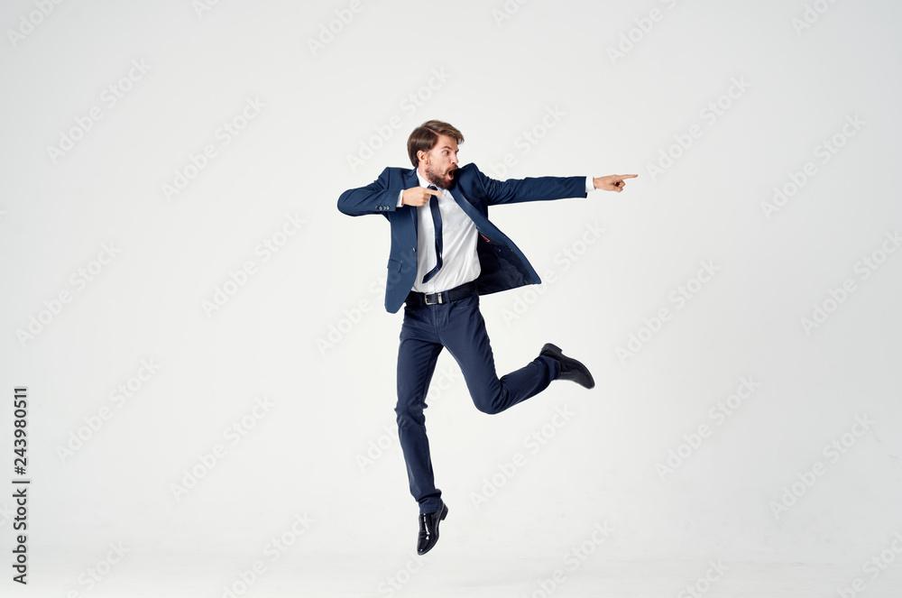 Fototapeta business man dancing isolated background