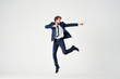 business man dancing isolated background