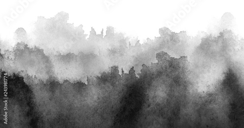 Photo sur Aluminium Gris Watercolor abstract background, , card, pattern, black spot, splash of paint, blot, divorce, color. Vintage pattern for different design. black and white paint color. Silhouettes of woods, trees