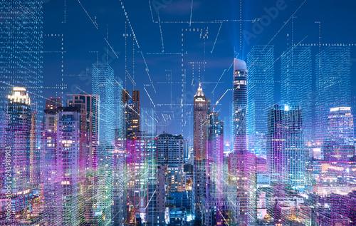 Smart cityscape with wireless network Fototapet