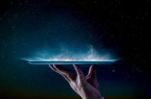 Waiter Hand Holding An Empty Digital Tablet Smoke Effect .