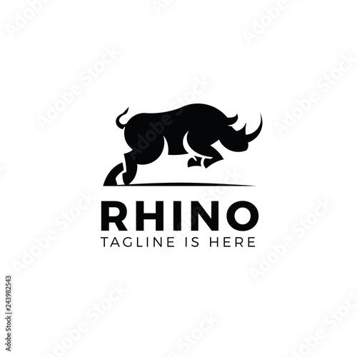 Obraz na plátně Jumping rhino logo template isolated on white background