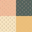 set of seamless patterns with funny birds and polka dot