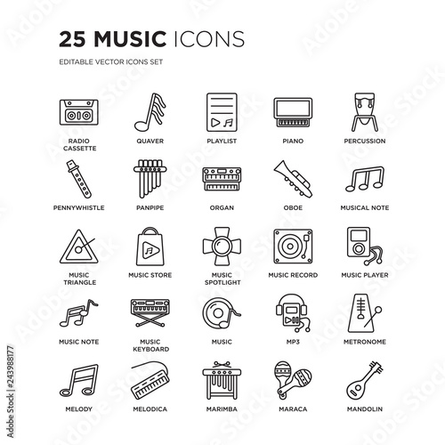 Set of 25 Music linear icons such as Radio cassette, Quaver