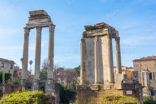Fotografia  Ancient column ruins of Roman Forum in Rome, Italy
