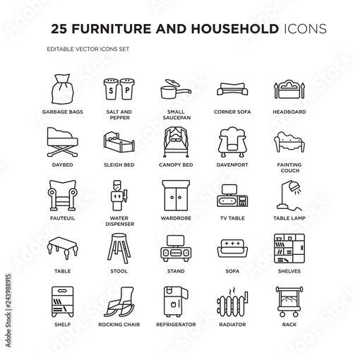Set Of 25 Furniture And Household Linear Icons Such As Garbage Bags