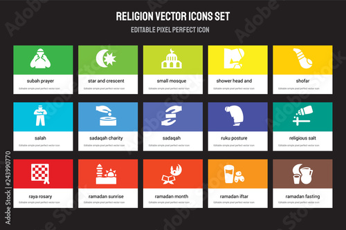 Photo  Set of 15 flat religion icons - Subah Prayer, Star and Crescent Moon, Ramadan Month, Shofar, Raya Rosary