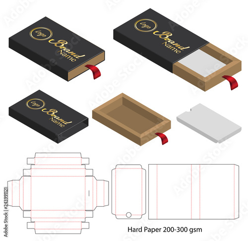 Carta da parati Box packaging die cut template design. 3d mock-up