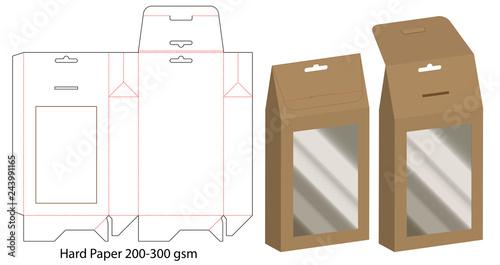 Fényképezés Box packaging die cut template design. 3d mock-up
