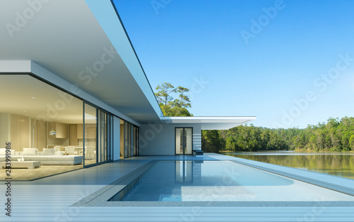 Fotografía  Perspective of luxury modern house with swimming pool in day time on green lake background, Idea of minimal architecture design