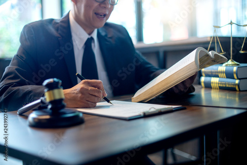 Judge lawyer gavel work in office with  balance Fototapet