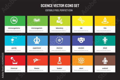 Fototapeta Set of 15 flat science icons - Microorganisms, Microorganism, Beaker, H2o, Chemical, Einstein, Droid, Atom