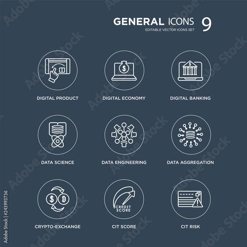 Photo 9 digital product, economy, crypto-exchange, data aggregation, engineering, banking modern icons on black background, vector illustration, eps10, trendy icon set