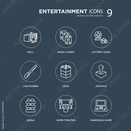 Photo  9 Mall, Magic cards, Jenga, Joystick, Lego, Lottery game, Lightsaber, Home theater modern icons on black background, vector illustration, eps10, trendy icon set