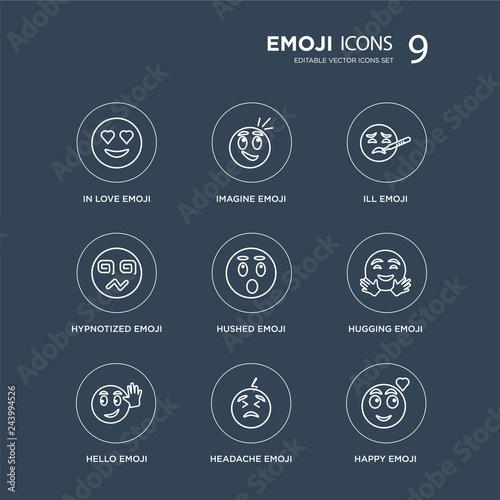 Photo  9 In love emoji, Imagine Hello Hugging Hushed Ill Hypnotized Headache emoji modern icons on black background, vector illustration, eps10, trendy icon set