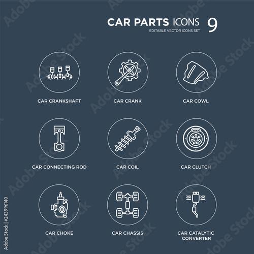 9 car crankshaft, crank, choke, clutch, coil, cowl, connecting rod