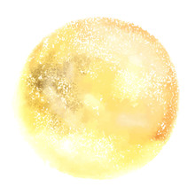 Vector And Watercolor Drawing Of The Moon, An Abstract Golden Yellow Background Texture