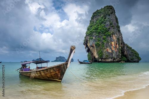 Deurstickers Asia land Long tail boat on Phra Nang Beach, Krabi, Thailand