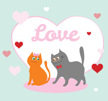 Valentine's Day Card With Couple Of Cats.  Vector Illustration Of Animals In Love In Cartoon Flat Style.