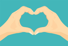 Heart Shape Hands. Vector Icon With Illustration Of Two Palms Making Heart Sign. Concept Of Love, Romance, Friendship, Kindness And Care. Flat Style.