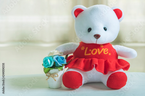 "Valentine, love and wedding background concept. Cute lovely bear with ""Love"" shirt and flower pot with white background. Picture for add text message. Backdrop for design art work."