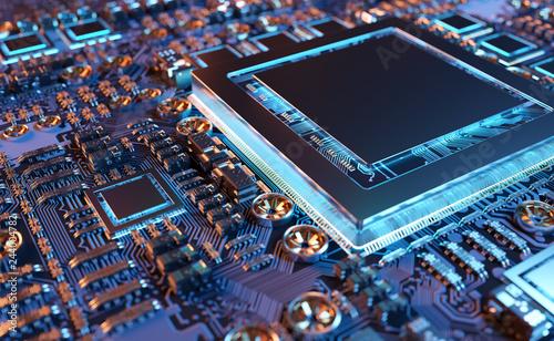 Fotografía  Close-up view of a modern GPU card with circuit