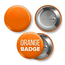 Orange Badge Mockup Vector. Pin Brooch Orange Button Blank. Two Sides. Front, Back View. Branding Design 3D Realistic Illustration