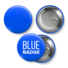 Blue Badge Mockup Vector. Pin Brooch Blue Button Blank. Two Sides. Front, Back View. Branding Design 3D Realistic Illustration