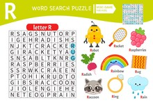 Words Puzzle Children Educational Game. Learning Vocabulary. Letter R. Cartoon Objects On A Letter R.