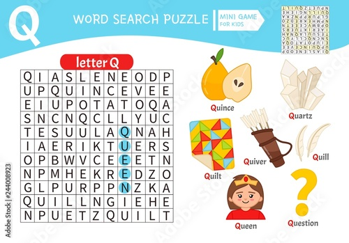 Words That Have The Letter Q.Words Puzzle Children Educational Game Learning Vocabulary
