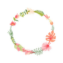 Hand Drawn Tropical Flower Composition, Tropic Wreath. Illustration Isolated On White Background. Floral Paradise, Exotic Plant Leaf Border