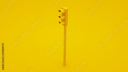 Fotografía  Yellow Traffic Light Signals. 3D illustration