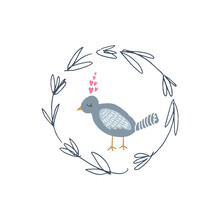 Vector Hand Drawn Bird In Love And Floral Frame