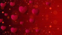 Paper Heart Shapes Decorated Red Bokeh Background For Valentines Day Celebration Concept.