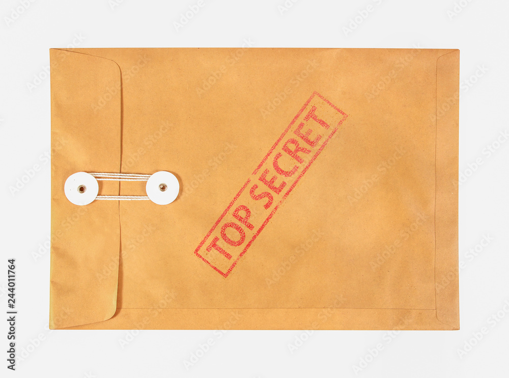 Fototapeta Stamp top secret on the brown envelop file ,isolated on white background
