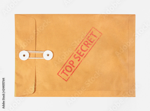 Photo Stamp top secret on the brown envelop file ,isolated on white background