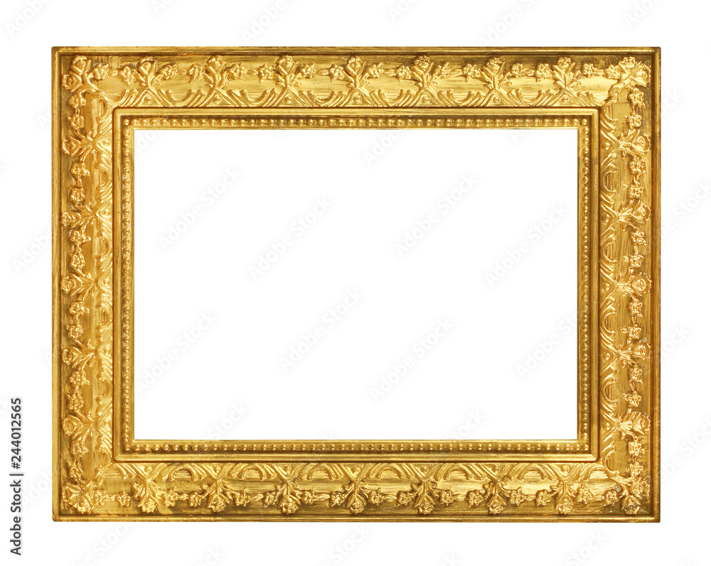 Fototapeta The antique gold frame on the white background