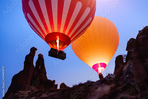 Recess Fitting Balloon Beautiful hot air balloons flying over Cappadocia landscape at sunrise
