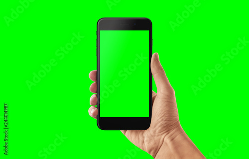 Isolated smart phone and hand in green, chroma key  Video