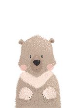 Cute Graphic Vector Illustration Of Funny Teddy Bear Isolated On White Background. Hand Drawing Bear Animal For Greeting Card For Kids, Decor For Nursery Baby Room. Wallpaper, Apparel, Invitation.