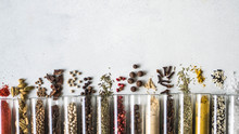 Various Dry Spices In Glass Tu...